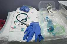 Photo of medical equipment for a home birth.
