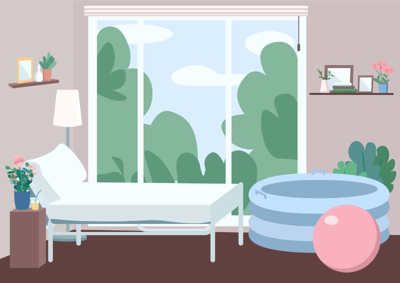 Illustration of a home birth setting, with bed, birth pool, birth ball, and large scenic window looking out to greenery.